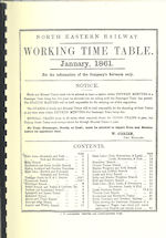 North Eastern Railway WTT January 1861